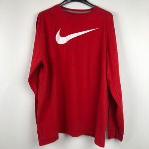 Nike better world long sleeve cherry red t shirt